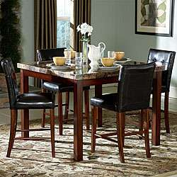 Hutton 5 piece Faux Marble Top Counter Height Dining Set