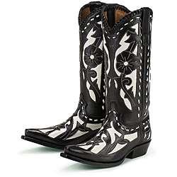 Lane Boots Womens Black/ White Poison Cowboy Boots