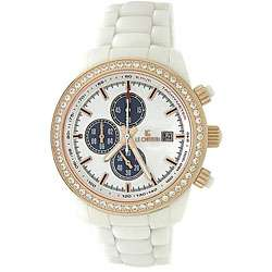Le Chateau Mens Bello Cubic Zirconia Gold and White Ceramic Watch