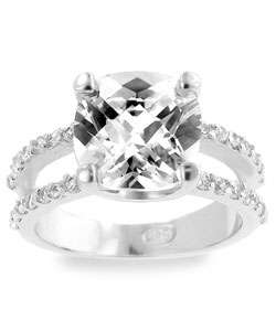 Sterling Silver CZ Cushion cut Ring