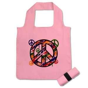 Reusable Shopping Grocery Bag Pink Peace Symbol Sign