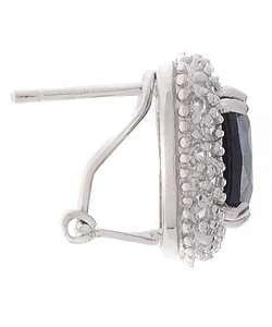 Rocks Sterling Silver Ceylon Created Sapphire Earrings