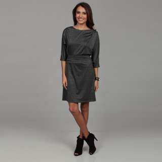London Times Womens Black/ Grey Ruche Dress