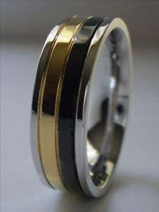 Mens Gold & Black Stainless Steel Ring Band Size 15