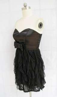 BL713 BLACK STRAPLESS LAYERED LACE DRESS Sz L