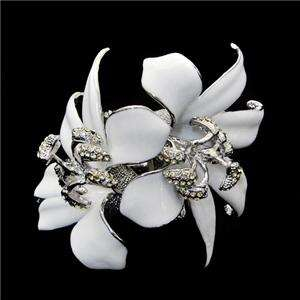 Lily Flower Bracelet Bangle Clear Swarovski Crystal