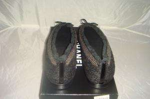 NIB AUTHENTIC CHANEL TWEEDY BLACK BALLET FLATS SHOES 41