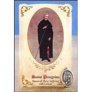 St Peregrine Healing Holy Card with Medal for Cancer