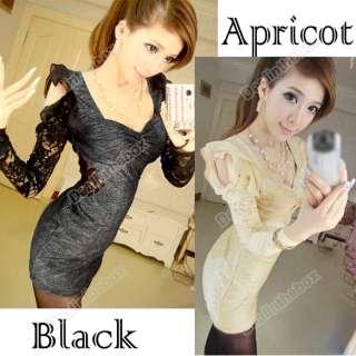 Fashion Womens Korea Sexy Chiffon Shoulder Lace Long Sleeve Mini