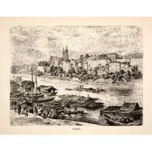 1881 Wood Engraving Basel Switzerland France Germany Rhine River