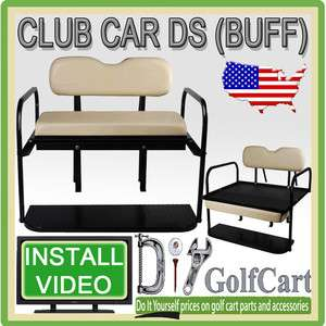 Club Car DS Golf Cart Rear Flip Back Folding Seat Kit Polyethylene