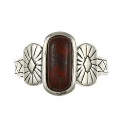 Southwest Moon Sterling Silver Rectangular Red Jasper Ring