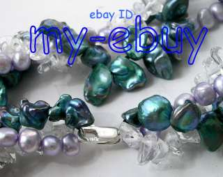 Blue Keshi Lavender Baroque Pearl Crystal Necklace
