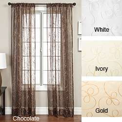 Angela Ribbon Embroidered 96 inch Curtain Panel  Overstock