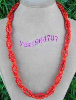 Beautiful natural red Coral craved Flower Necklace