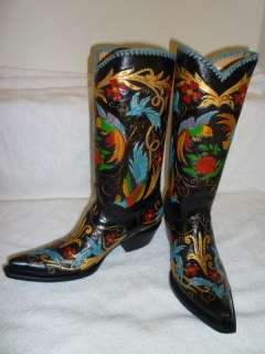 BIRDS HAND TOOLED HAND PAINTED CUSTOM PAIR OF COWBOY BOOTS 8.5
