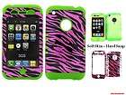 For iPhone 3G 3GS Transparent Hot Pink Zebra Print Lime Green Skin