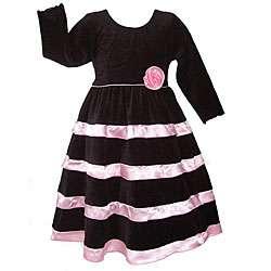 AnnLoren Girls Black Velvet/ Pink Satin Holiday Dress