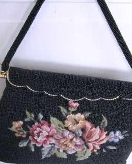 BLACK Beaded PETITPOINT PINK ROSES Vintage Purse/Handbag~MINT~Glass