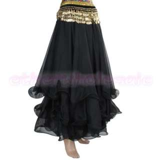 Three Layers Belly Dance Skirt Chiffon Costume Dress