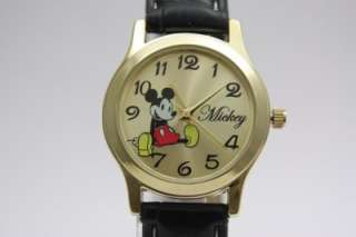Mickey Mouse Classic Gold Tone Black Leather Watch 30mm MCK615
