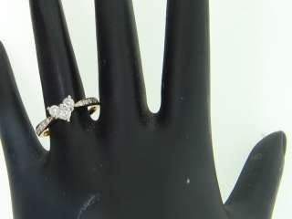 YELLOW GOLD PRINCESS CUT HEART DIAMOND ENGAGEMENT RING BAND