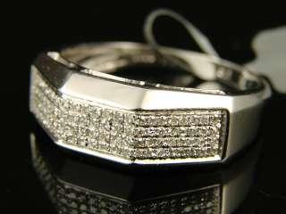 MENS WHITE GOLD FINISH WEDDING BAND DIAMOND RING .45 CT