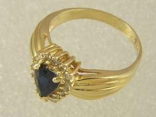 14 KT GOLD LADIES PEAR SHAPE SAPPHIRE & DIAMOND RING
