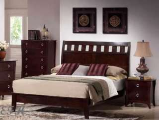 NEW WILLS CHERRY FINISH WOOD LOW PROFILE QUEEN SIZE BED