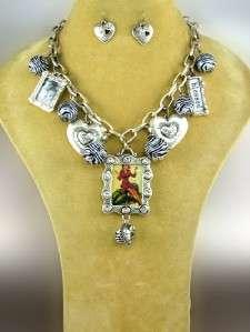 Chain Link Charm Zebra Heart Photo Pendant Necklace Earring Set