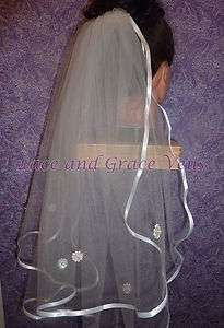 First Holy Communion Veil with flowers on veil on White Satin Comb