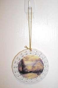 THOMAS KINKADES CHRISTMAS COTTAGE PORCELAIN ORNAMENT NEW IN BOX