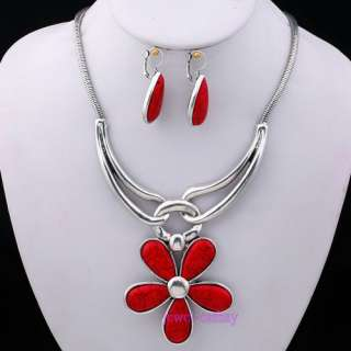 FLOWER RED TURQUOISE PENDANT women charms tibet silver gift earring