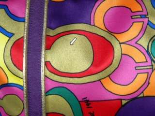 COACH POPPY POP C GLAM Signature OP ART Purple/Gold Multi LG Tote Bag