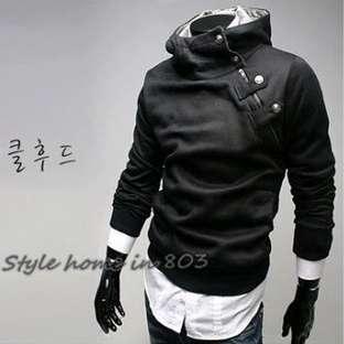 Korean Fashion Mens Slim Sexy Top Designed Rider Style Hoodie Jacket