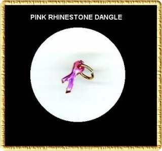 Pink Breast Cancer Rhinestone RIBBON Nail Art Dangle