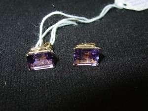14k Yellow Gold Amethyst Studs Earrings Emerald Cut
