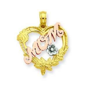 14k Two Tone & Rhodium Pink Mom In Heart & White Flower