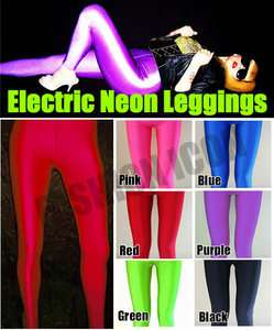 Red Opaque Glossy Shiny Neon SPANDEX Leggings Pants