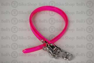 Pake Space Bicycle Toe Straps NEON PINK Nylon Steel