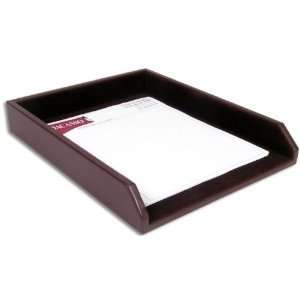 Chocolate Brown Leather Letter Tray