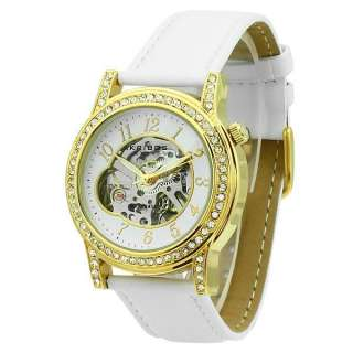 Skeleton Automatic Yellow Gold Plated, White Satin Strap Ladies Watch