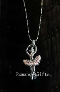 Imperial Swan Lake Ballerina Necklace Pink Pearl & Crystal Diamonds
