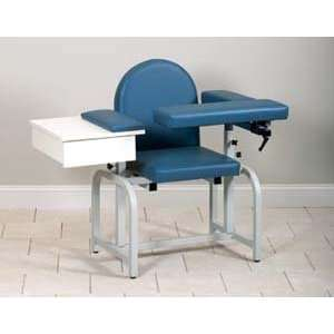 Blood drawing chair with upholstered seat, drawer & flip