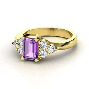 Apex Ring, Emerald Cut Amethyst 14K Yellow Gold Ring with