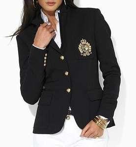290 NWT LAUREN Ralph Lauren Sailor Navy Wool Blazer w Crest