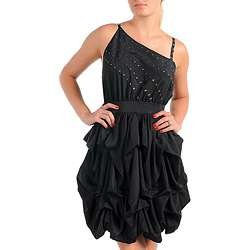 Stanzino Womens Plus Size Black Ruffle Stud embellished Dress