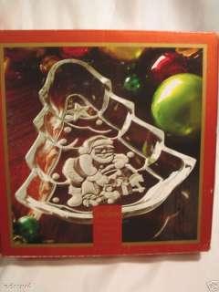 in box GORHAM Crystal glass SANTA North Pole Christmas TREE DISH bowl