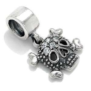 Crystal SKULL 925 Sterling Silver Dangle Charms Bead
