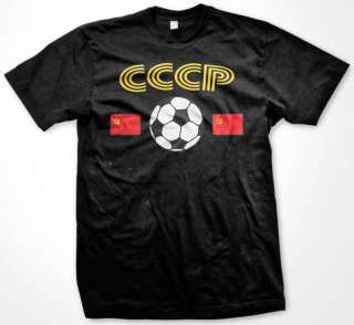 CCCP Soccer T shirt Russia Flag Football Mens Tee